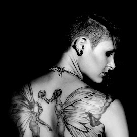 by Carel Van Vuuren - People Body Art/Tattoos ( girl, female, woman, back, hea, tattoo, ink )
