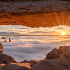 Mesa Arch at Sunrise by Ed Shanahan - Landscapes Sunsets & Sunrises ( moab, utah, canyonlands national park, sunrise, sunstar, mesa arch )