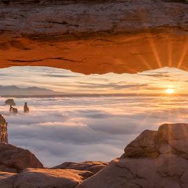 Mesa Arch at Sunrise by Ed Shanahan - Landscapes Sunsets & Sunrises ( moab, utah, canyonlands national park, sunrise, sunstar, mesa arch )