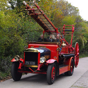 Dennis on the Move by DJ Cockburn - Transportation Automobiles ( brighton and hove fire brigade, ladder, west sussex, firefighter, vintage, automobile, vehicle, amberley, fire truck, amberley museum & heritage centre, fire engine, autumn historic transport gathering, dennis specialist vehicles, england, pn4119, emergency services, pump escape, antique, classic,  )
