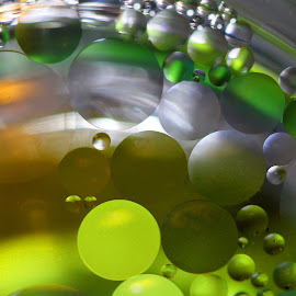 Elliptical Reflections by Janet Herman - Abstract Macro ( abstract, oil and water, macro, colorful, green, floating, oil )