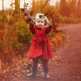 Throwing leaves by Love Time - Babies & Children Child Portraits ( child, red, girl, wood, autumn, leaves, colours,  )