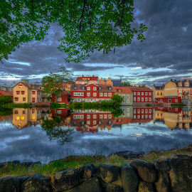 Eskilstuna by Manu Heiskanen - Uncategorized All Uncategorized ( water, clouds, mirror, reflection, waterscape, oldcity, sunset, eskilstuna, cityscape, wall, paulinawolekpardon )