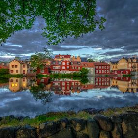 Eskilstuna by Manu Heiskanen - Uncategorized All Uncategorized ( water, clouds, mirror, reflection, waterscape, oldcity, sunset, eskilstuna, cityscape, wall, paulinawolekpardon )