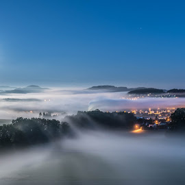 fogwave by Torsten Kläbisch - Landscapes Cloud Formations ( foggy, night photography, long exposure, moonlight )