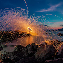 1st ever steel wool shoot at Sungai Batu Penang by Lim Louis - Abstract Light Painting ( light painting, steel wool, sunset, landscape photography, seaside )