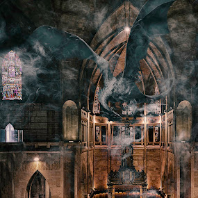 A Mystical Moment by Andrius La Rotta Esquivel - Digital Art Places ( amazing, mystery, creative, mysterious, digital art, composition, dragon, places, creativity, photography )