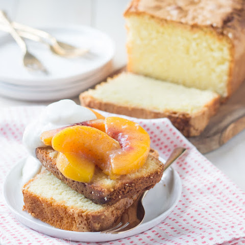 Best Pound Cake Recipe, with Gingered Brown Butter Peaches
