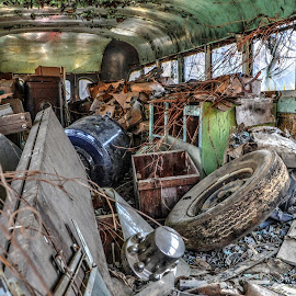 Inside the Junked Bus by Mike Roth - Transportation Automobiles (  )