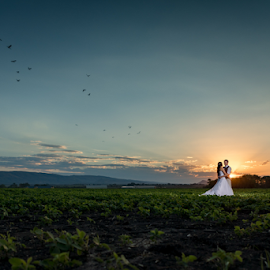 Just before sunset by Lood Goosen (LWG Photo) - Wedding Bride & Groom ( wedding photography, wedding photographers, sunset, wedding day, weddings, wedding, bride and groom, wedding photographer, groom, brie )