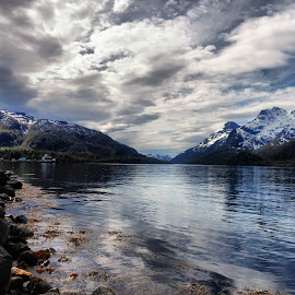 Raftsundet.Norway by Jovana Nešić - Landscapes Waterscapes ( mirrored reflections, clouds, reflection, mountain, nature, snow, sea, seascape, landscape, norway, fjord )