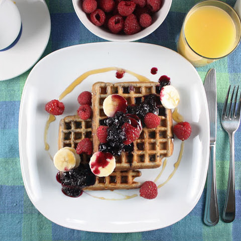 Whole Wheat Waffles with Blueberry Syrup