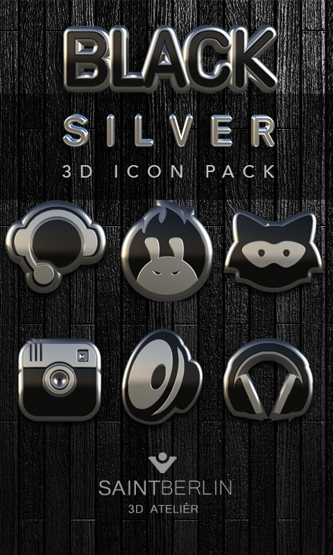 Icon Pack Black Silver 3D Screenshot 0