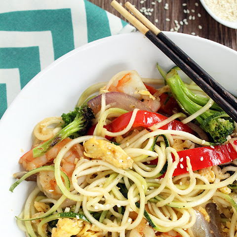 "Teriyaki Zucchini ""Fried"" Noodles with Shrimp, Peppers, Onions and Broccoli"
