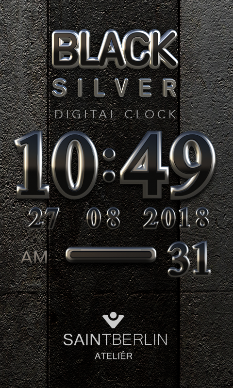 Black Digital Clock Widget Screenshot