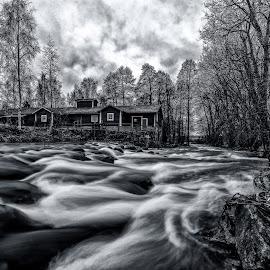 by Bojan Bilas - Black & White Landscapes ( europe, waterscape, fine art, finland, architecture, landscape, eurajoki, winter, nature, suomi, rapids, long exposure, rocks, eura, river )