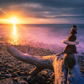 by Esmar Abdul Hamid - Landscapes Sunsets & Sunrises ( pwcsunbeam, stone, malaysia, seascape, kuala penyu )
