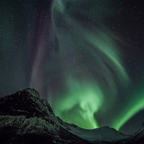 aurora over the hills by Benny Høynes - Landscapes Starscapes
