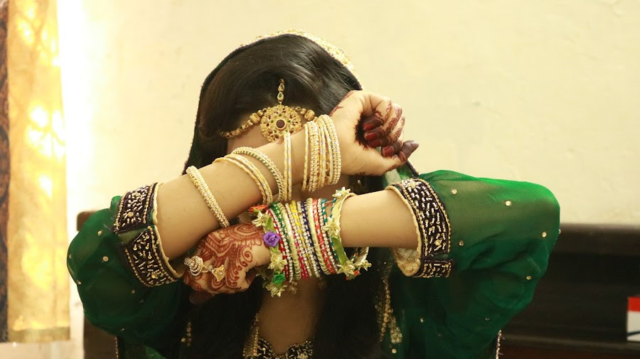 traditional bride by Areej Khalid - Wedding Bride ( mehandi, pakistani, green, wedding, tradition, jewelry, traditional, bangles, traditional bride, groom, culture,  )