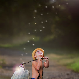 fireflies by Wendy Berning - Digital Art People ( love, firefly, cute, boy, kid )