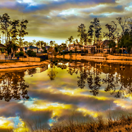 Woodlands Water Front Neighborhood by Joseph Law - City,  Street & Park  Neighborhoods ( clouds, ponds, houses, water front, texas, neighborhood, reflections, trees, woodland )