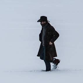 Snow Cowboy by Antonin de Bertimbrie - People Portraits of Men ( wild, cowboy, walking, nowhere, snow, nothing, alone )