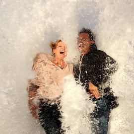 Splash by Gene du Plessis - People Couples ( water, tidal wave, splash, couple, ocean )