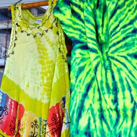 Tie Dye by Janet Young- Abeyta - Artistic Objects Clothing & Accessories ( hanging, tie dye, clothes, green, dress, stitching, yellow, shirt )