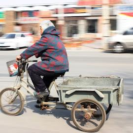 BeijingER by Vasilisa Lukyanenka - Transportation Bicycles ( old lady, road, beijing, bicycle, china )