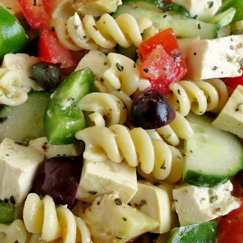 Greek Pasta Salad with Tofu Feta