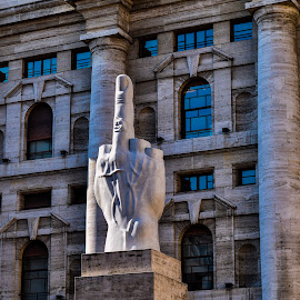 Stock Market Buiding in Milan  by Nelida Dot - Buildings & Architecture Statues & Monuments ( milan, building, statue, finger, italy )