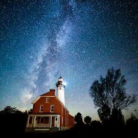 Au Sable by Ken Smith - Landscapes Starscapes ( au sable lighthouse, pictured rocks state park, landscape, milky way )