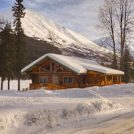 A Cabin In The Mountains by Patricia Phillips - Buildings & Architecture Other Exteriors ( buildings log cabins mountains alaska winter )
