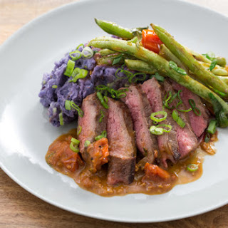 Flat Iron Steaks with Mashed Purple Potatoes & Summer Vegetables