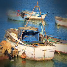 blue boats, spain by Jim Knoch - Transportation Boats