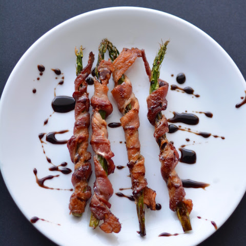 Asparagus wrapped in Bacon with a Balsamic reduction