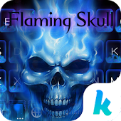 Flaming Skull Kika Keyboard Theme-blue phone theme