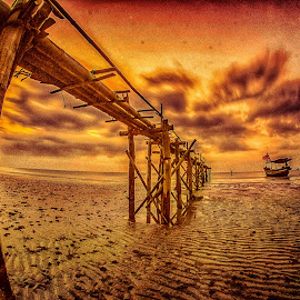 by Joy Advent - Buildings & Architecture Bridges & Suspended Structures ( slowspeed, reflection, waterscape, sunset, indonesia, rembang, bridge, sunrise, landscape, photography )