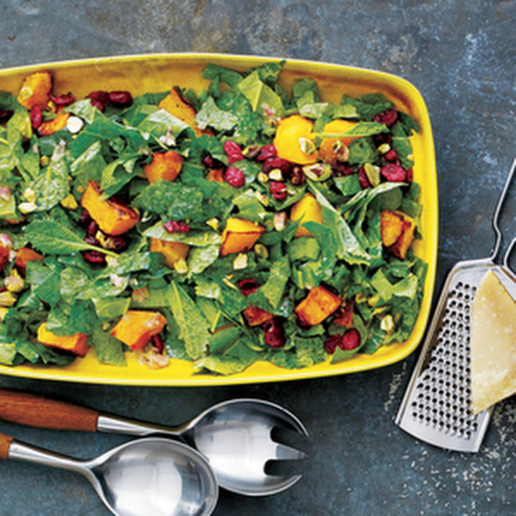 Kale Salad with Roasted Squash, Dried Cranberries and Pistachios ...