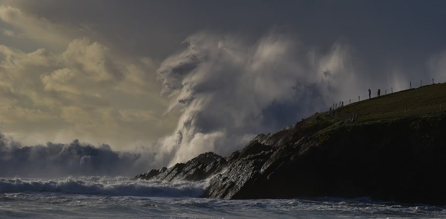 POWER by Barbara Walsh - Landscapes Waterscapes ( wild, dingle, ireland, swell, wave, power, sea, crashing, rock, storm,  )