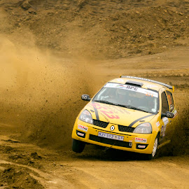 Near miss by Michael Roselt - Sports & Fitness Motorsports ( rally, 3 wheel, dirt and dust, drift )