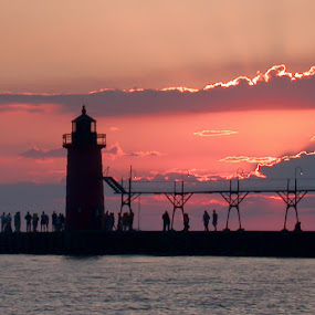 Lake Michigan Lighthouse by Gwen Paton - Buildings & Architecture Bridges & Suspended Structures ( south haven mi, pier, lighthouse, michigan, sunset, sw michigan,  )