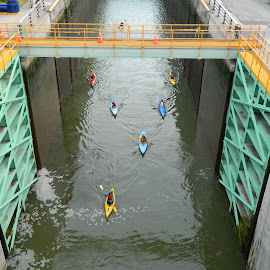 Locking through by Thomas Fitzrandolph - Sports & Fitness Watersports ( erie canal, water sports, niagara county ny, summer, summer fun, kayak, canal locks, lockport ny )