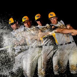 baseball splash by Richard Puzio - Sports & Fitness Baseball ( water, sports', hitting, splash, baseball, bat, water balloon, batter )