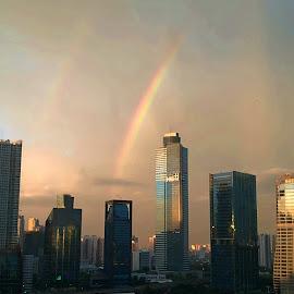 Down to earth by Andiono Afianto - City,  Street & Park  Skylines ( sky, rainbow, sunset, buildings, cityscape, landscape,  )