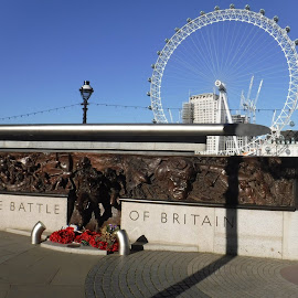 The Battle of Britain wth London Eye by Elizabeth O - Buildings & Architecture Statues & Monuments