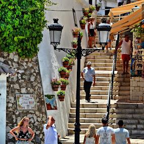 Steps in Mijas, Spain by Francis Xavier Camilleri - City,  Street & Park  Street Scenes