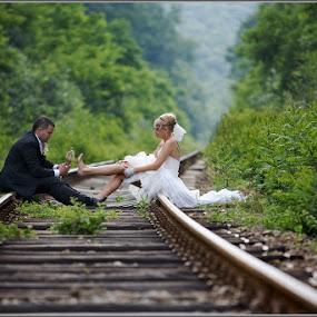 Wedding stop. by Aurel Virlan - Wedding Other ( railway, wedding, humorous, bride and groom, shoe )