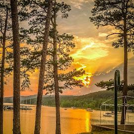 Sunset by Jennifer  Loper  - Instagram & Mobile iPhone ( orange, mountains, sunset, yellow, pine trees, boats, lake )
