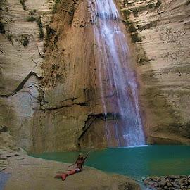 Mermaid @ the waterfall by Sergei Tokmakov - Uncategorized All Uncategorized ( model, girl, nature, waterfall, cute, mermaid )